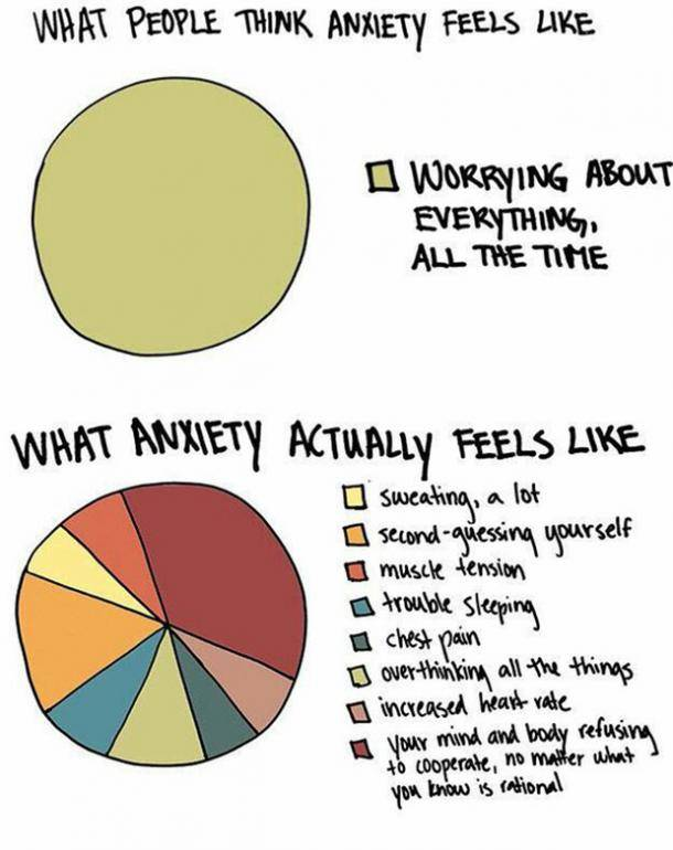 What Anxiety feels like pie chart