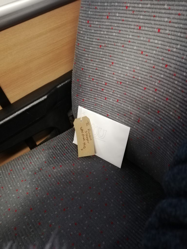 The Card of positivity I left for a stranger on the train