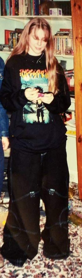 Me about 16 wearing an offspring hoodie and massive black trousers
