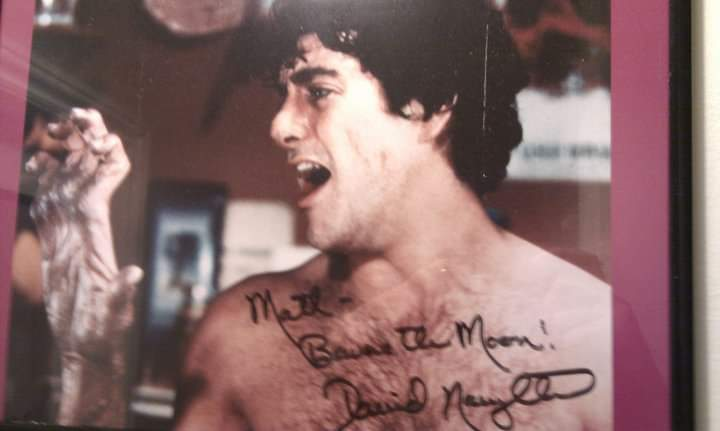 Autographed picture of David Naughton at collectormamia convention 2003