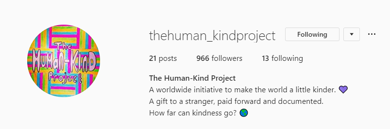 The Human Kind Project Instagram page