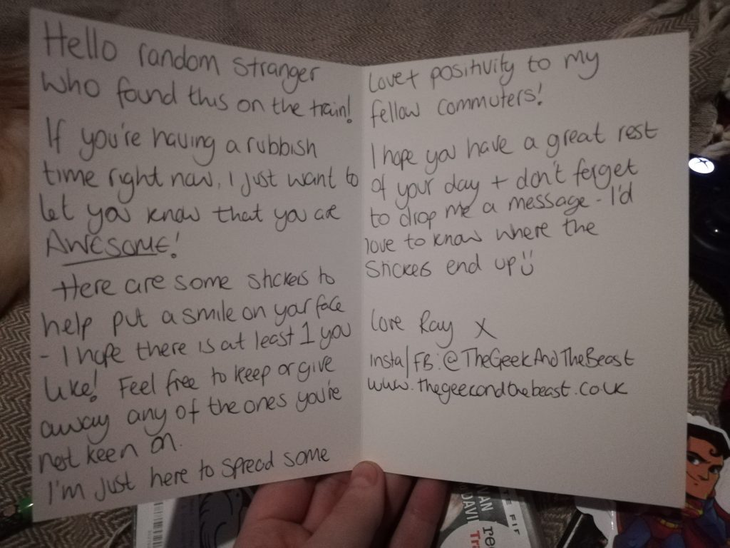 The message inside the card I left on a train for someone