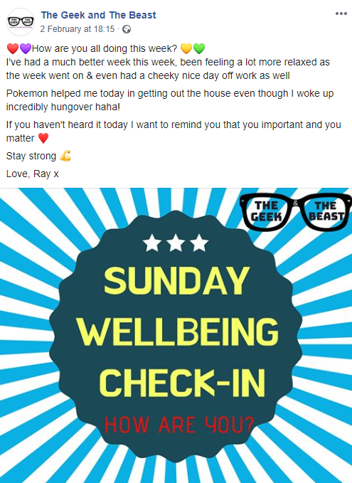 Image for Sunday Wellbeing Check-in I post every week