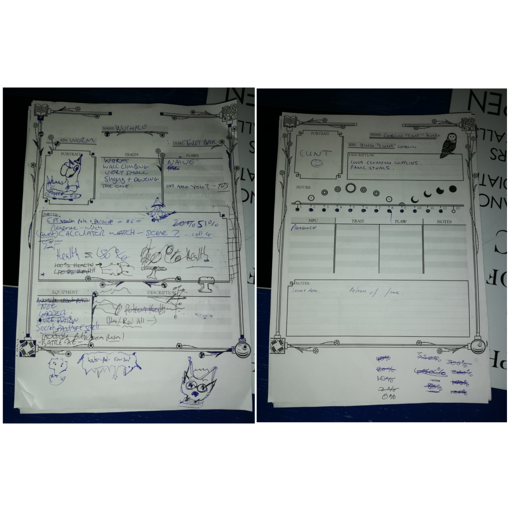 Image of character sheets at the end of the Labyrinth game