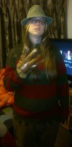 Dressed as Freddy from A Nightmare on Elm Street
