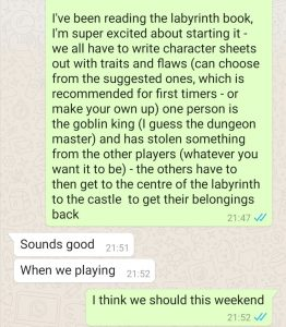 Text to my friend with the excitment of receiving the Labyrinth game