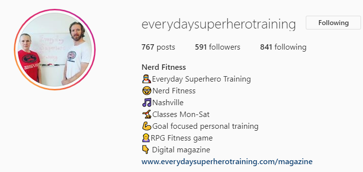 Instagram page of EverydaySuperHeroTraining for example of geeky exercises